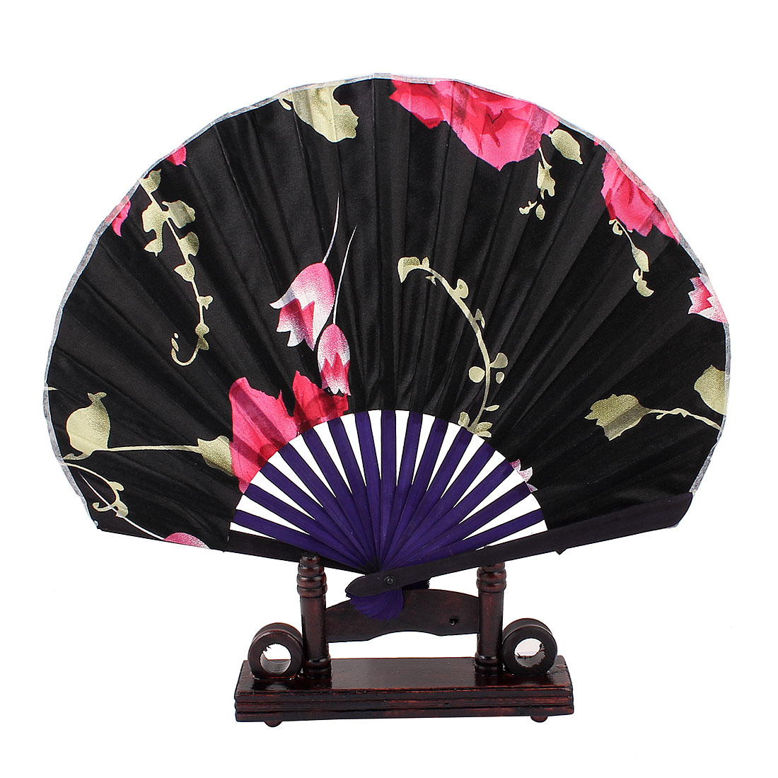 Chinese Ink Painting Lily Foral Wood Folding Hand Fan Black w Display Holder