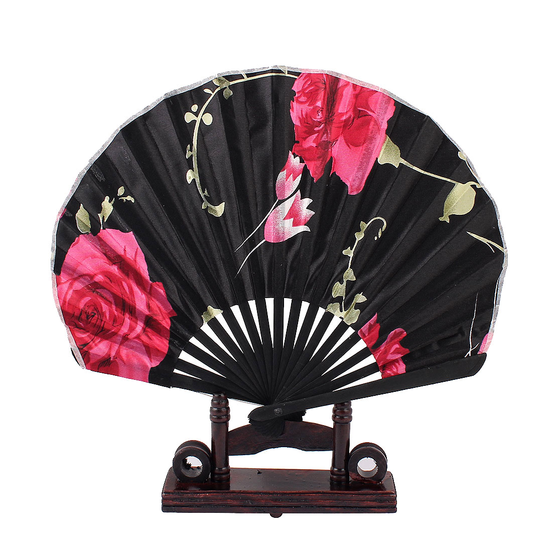 Bamboo Ribs Chinese Style Fuchsia Rose Flower Pattern Black Fabric Cloth Folding Hand Fan Decor Gift w Wooden Holder