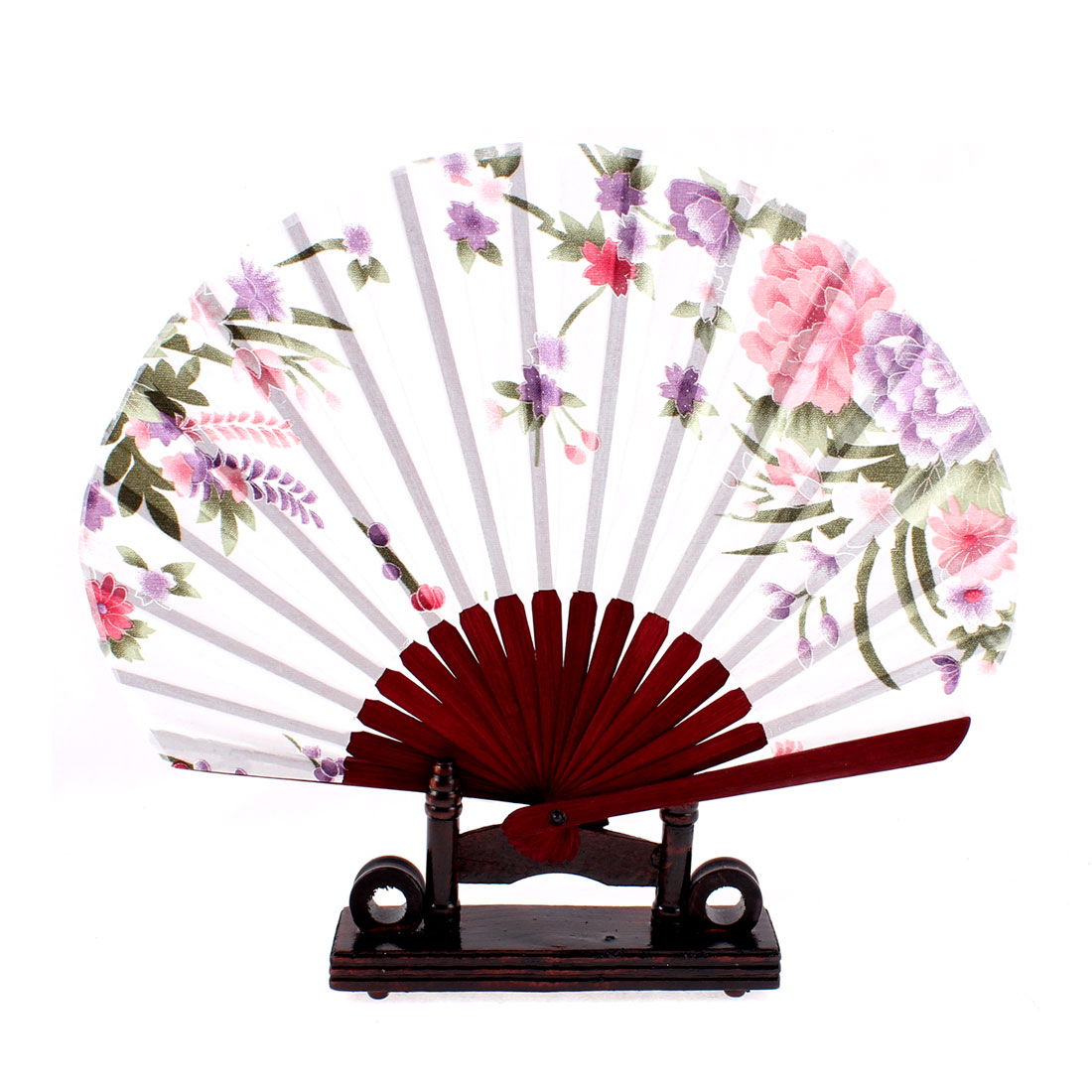 Chinese Bamboo White Floral Folding Hand Fan w Display Holder