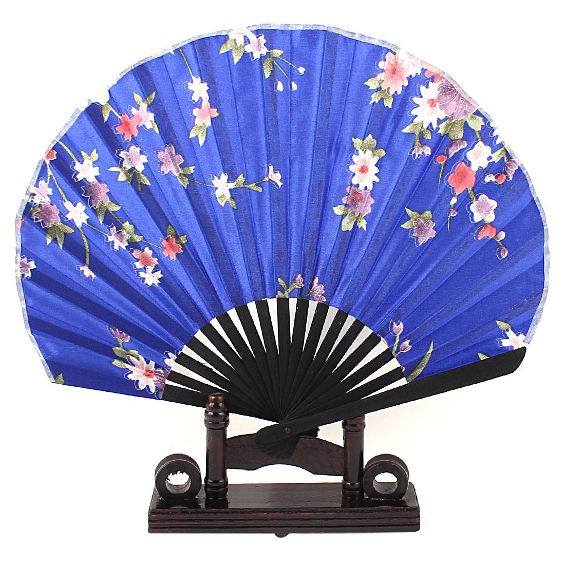 Chinese Style Purple Green Flower Pattern Blue Fabric Bamboo Ribs Folding Hand Fan Decor Gift w Holder