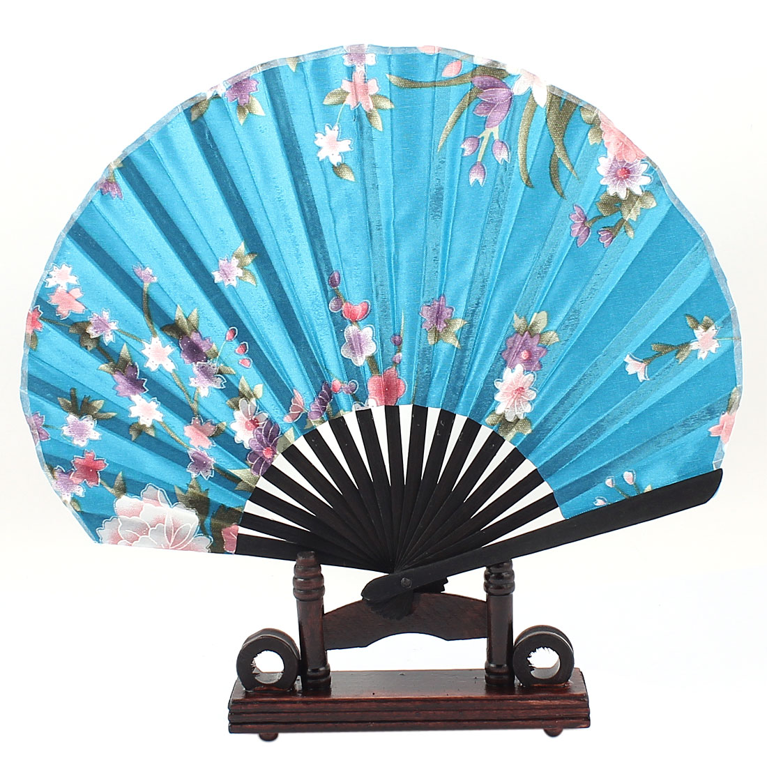 Home Decor Bamboo Ribs Blooming Flower Pattern Blue Fabric Cloth Folding Hand Fan w Wooden Holder