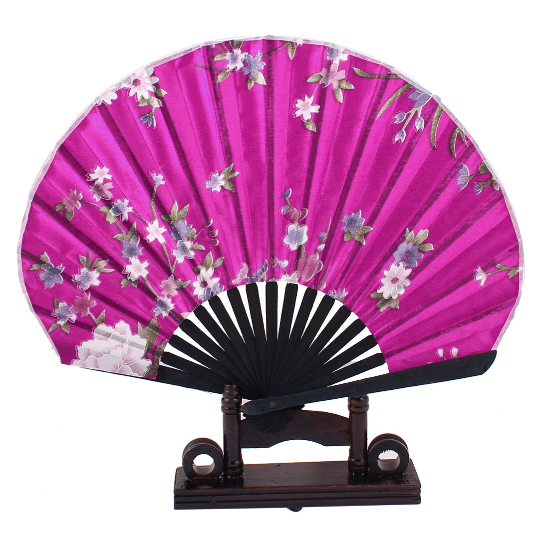 Home Decor Green Leaves Purple Floral Printed Fuchsia Fabric Bamboo Ribs Folding Hand Fan Decor Gift w Holder