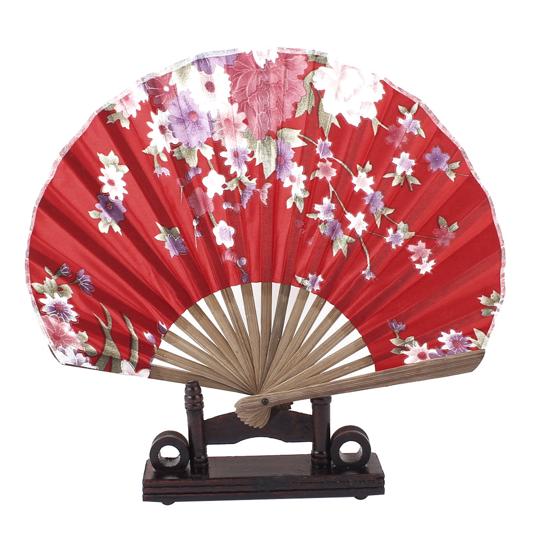 Chinese Ink Painting Peach Floral Bamboo Folding Hand Fan Red w Display Holder