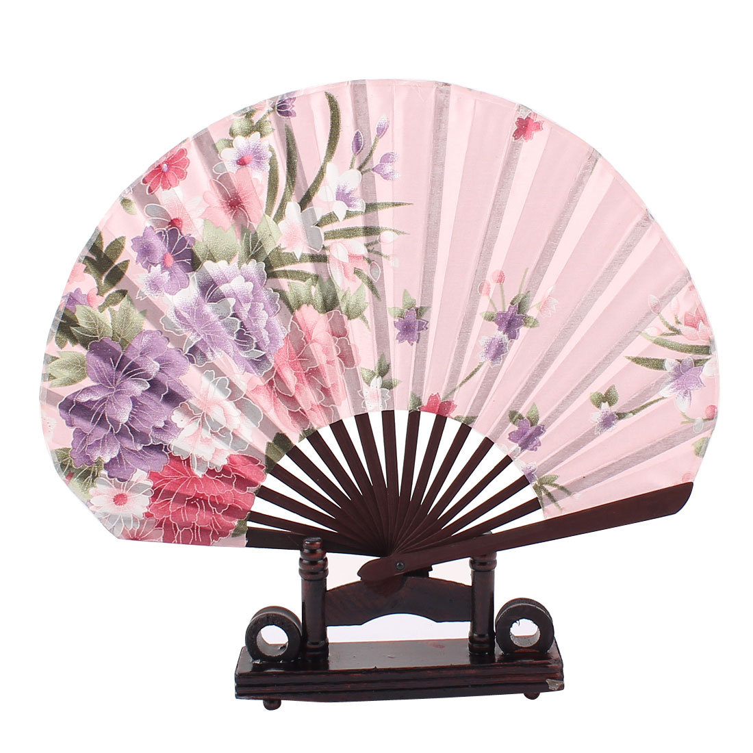 Chinese Party Favor Peony Print Wood Folding Hand Fan Coffee Color Pink w Holder