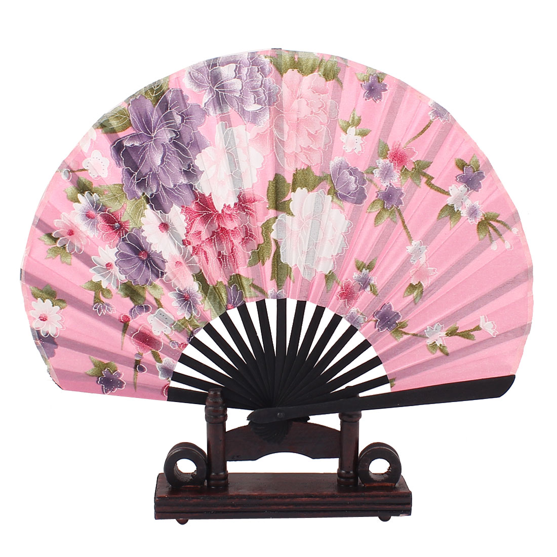 Chinese Style Bamboo Ribs Green Leaves Purple Floral Pattern Pink Fabric Cloth Folding Hand Fan w Display Holder