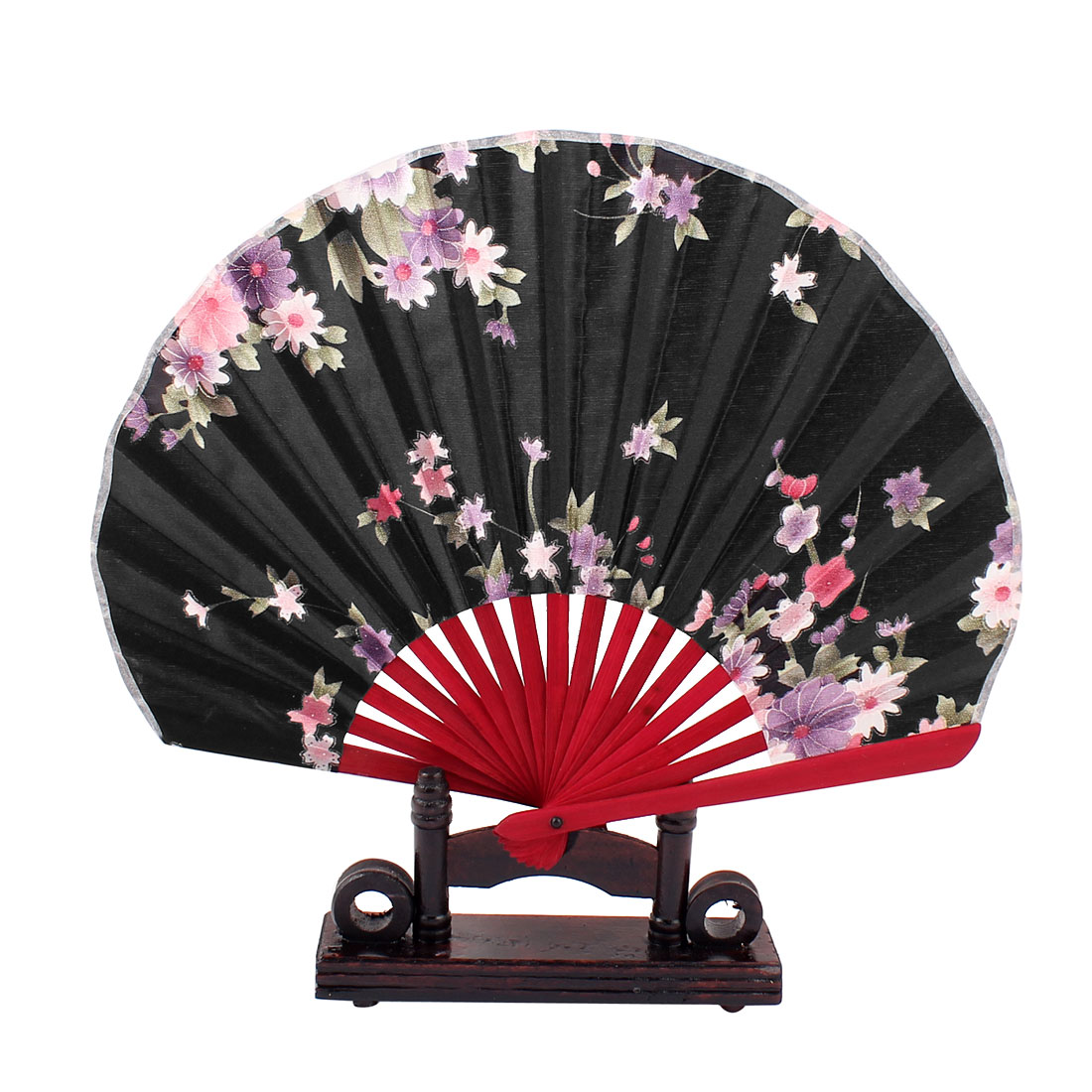 Chinese Wedding Party Favor Peach Flower Wood Folding Hand Fan Black w Holder