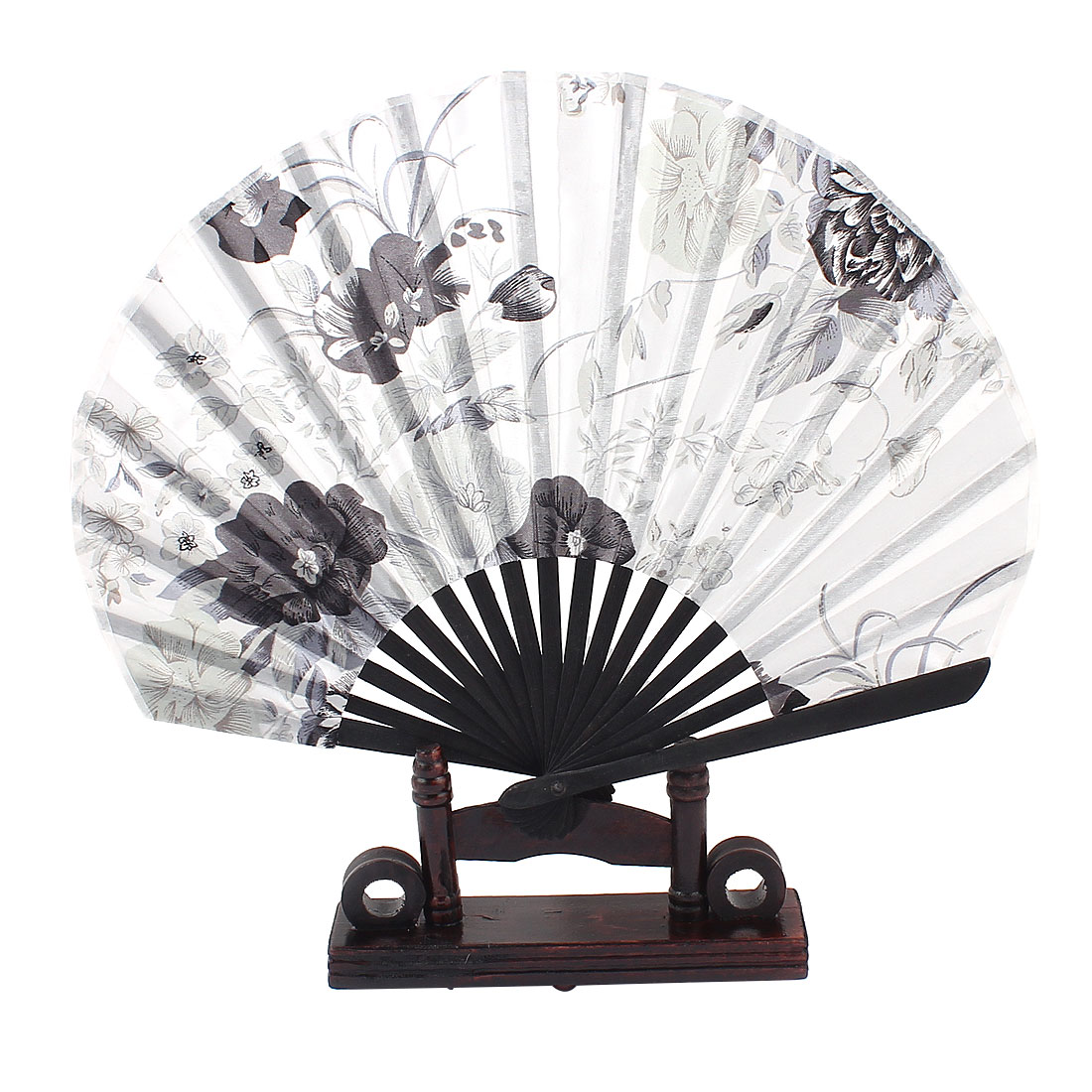 Wedding Party Gift Chinese Style Gray Black Flower Pattern White Fabric Bamboo Ribs Folding Hand Fan w Holder
