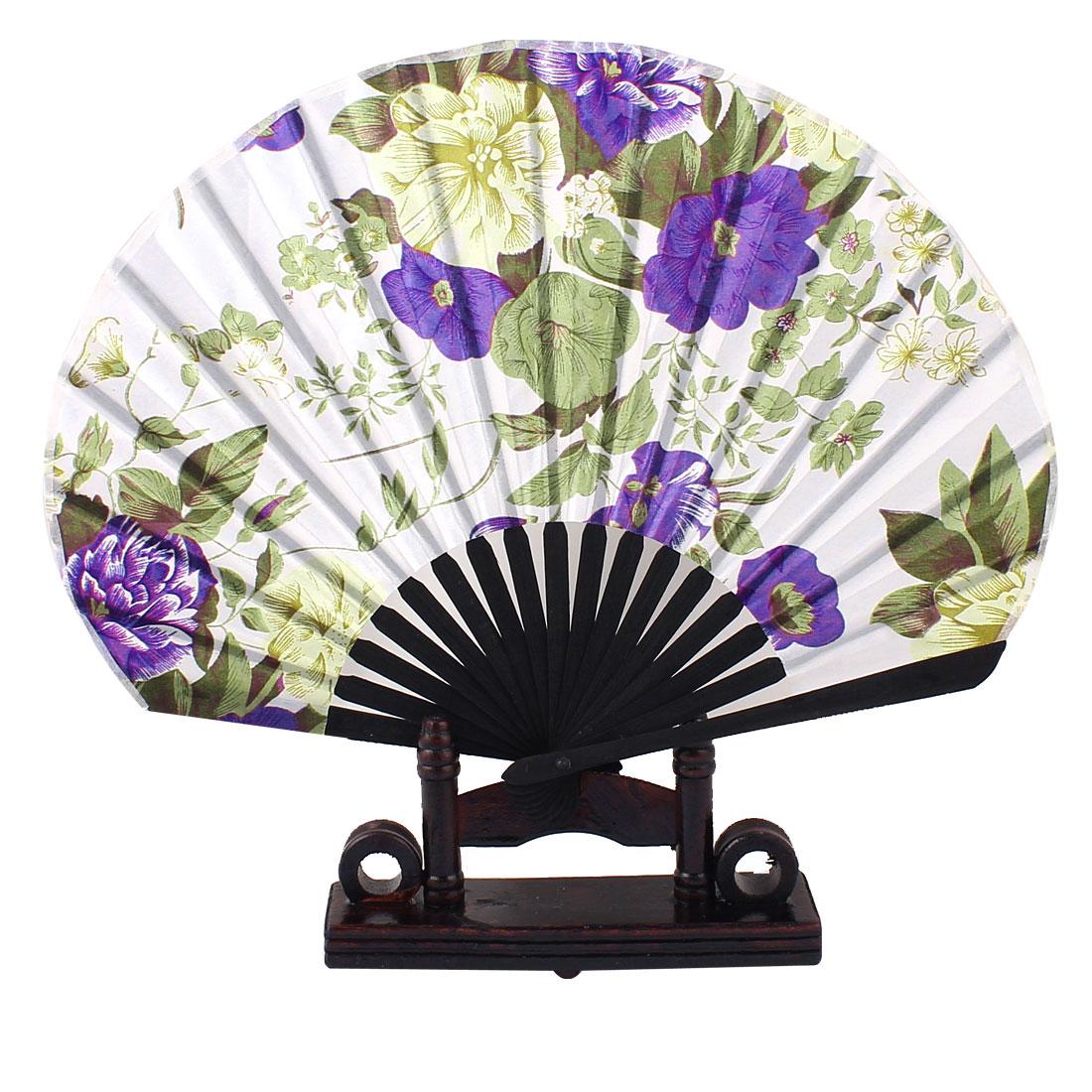 Bamboo Frame Green Leaves Purple Flower Printed White Fabric Cloth Folding Hand Fan w Holder