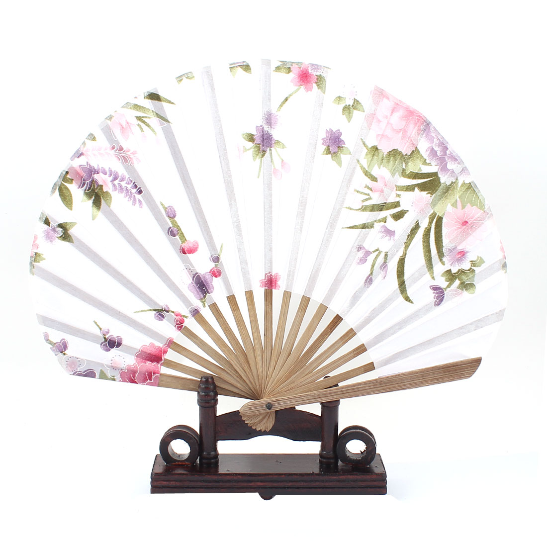 Chinese Painting Peony Orchid Bamboo Folding Hand Fan White w Display Holder