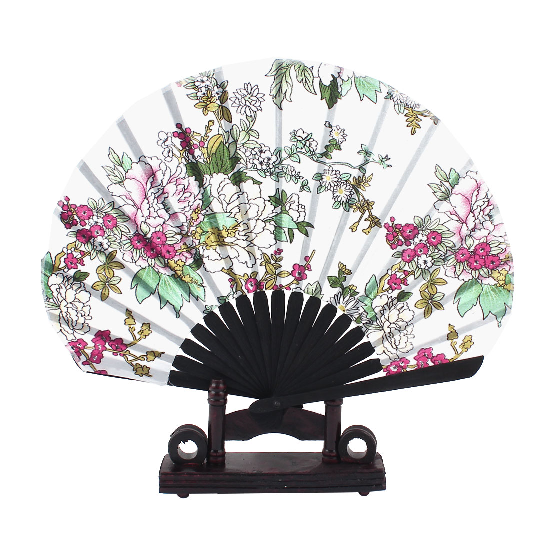 Green Pink Blooming Flower Pattern White Fabric Cloth Bamboo Ribs Folding Hand Fan w Wooden Holder