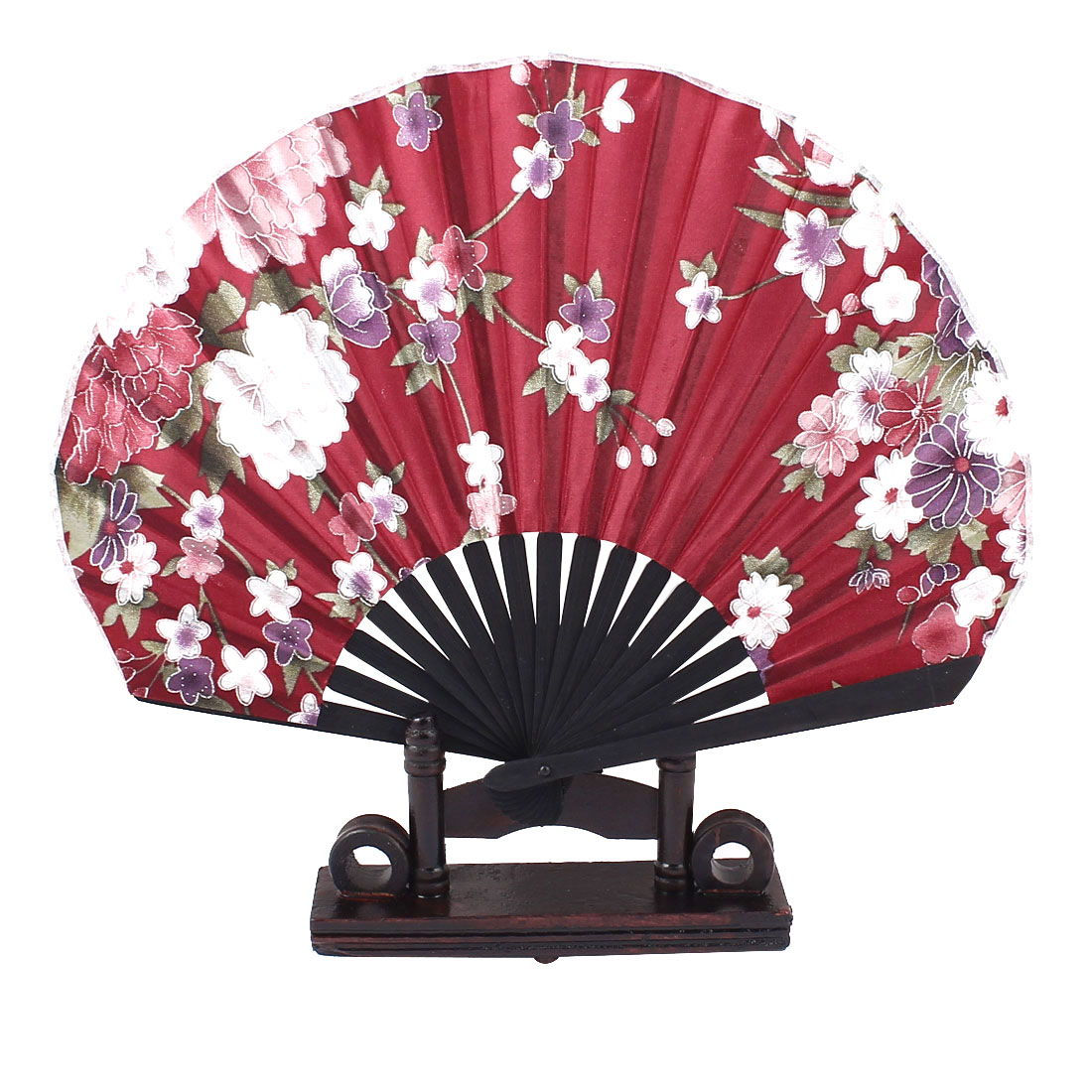 Bamboo Ribs Chinese Style Purple Pink Flower Pattern Black Fabric Cloth Folding Hand Fan Decor Gift w Display Holder