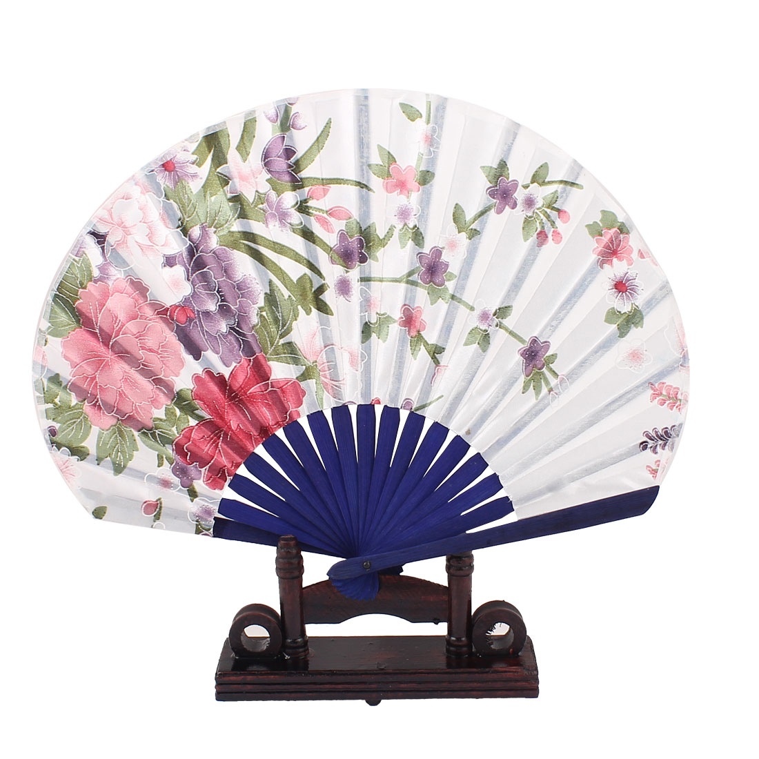 Chinese Painting Peony Floral Wood Folding Hand Fan White Blue w Display Holder