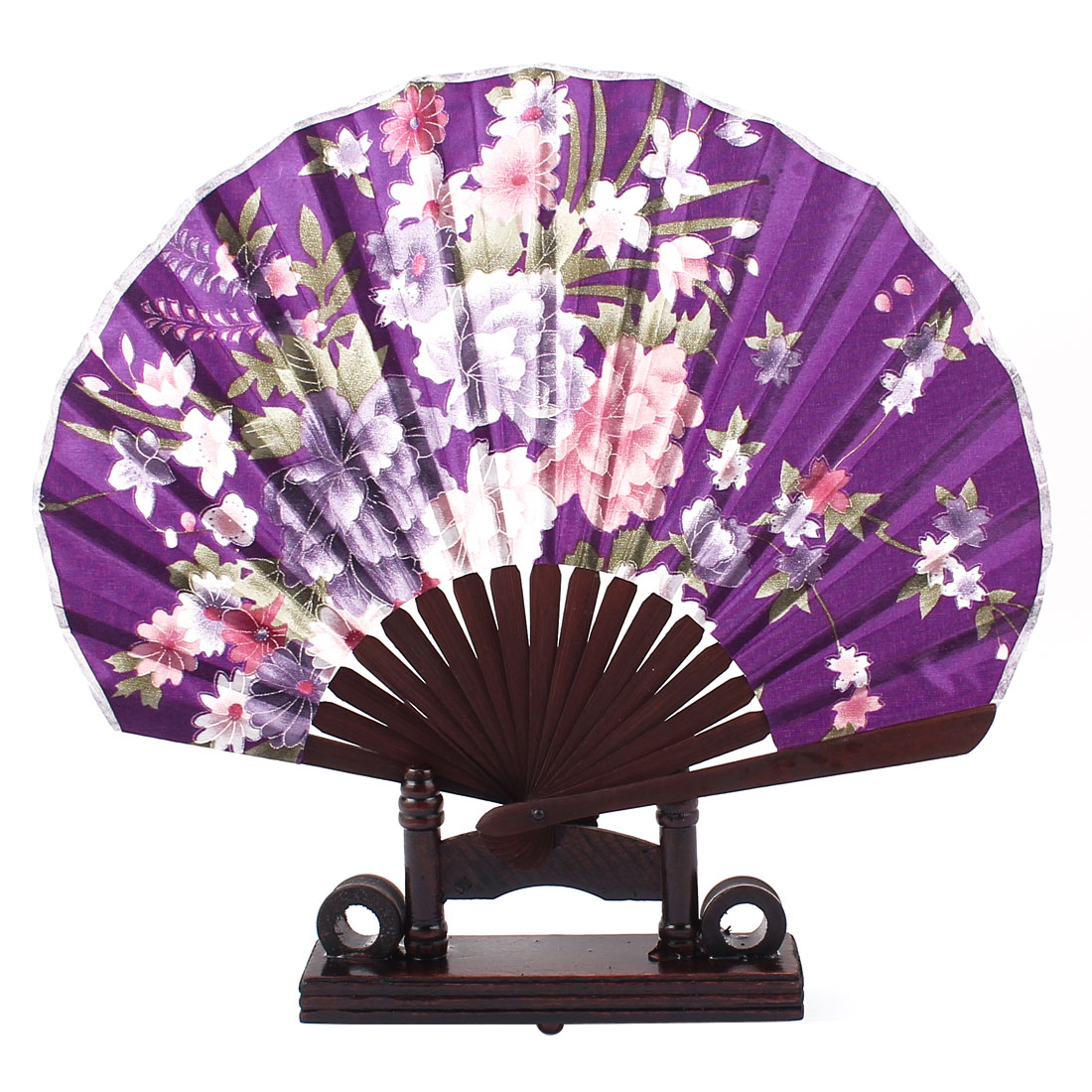 Chinese Wedding Party Favor Peony Print Wood Folding Hand Fan Purple Pink w Holder