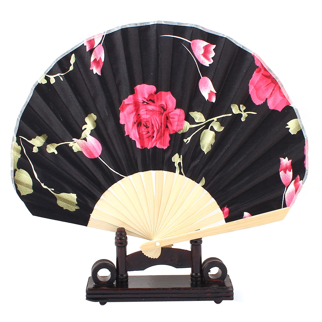 Chinese Ink Painting Rose Print Wood Folding Hand Fan Red Black w Display Holder