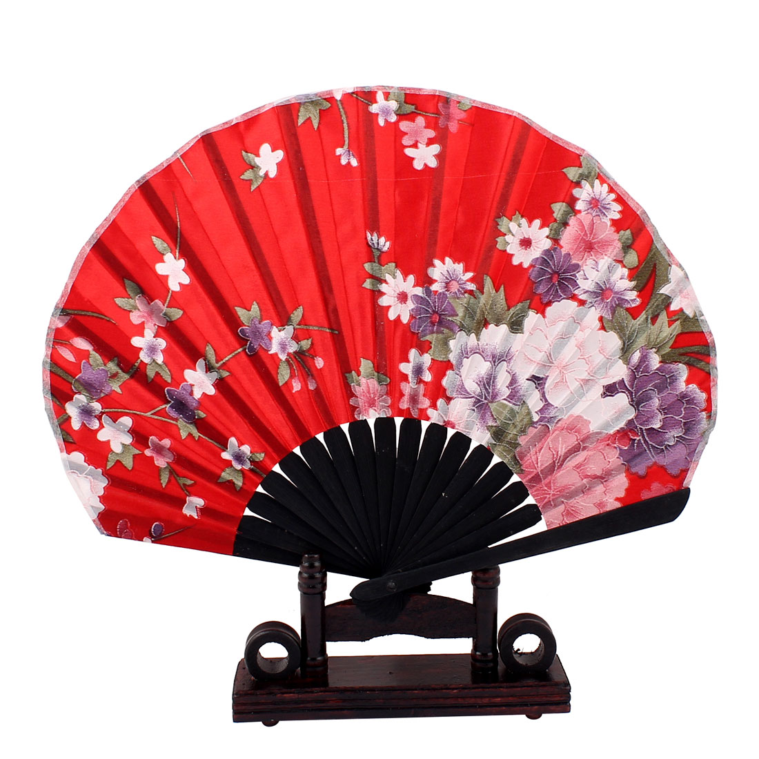 Purple White Blooming Floral Printed Red Fabric Cloth Bamboo Frame Folding Hand Fan w Display Holder