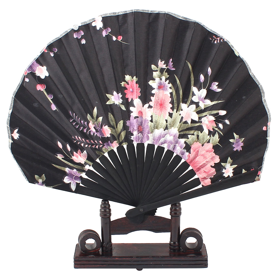 Bamboo Ribs Chinese Style Purple Pink Blooming Flower Pattern Black Fabric Cloth Folding Hand Fan Decor Gift w Wooden Holder