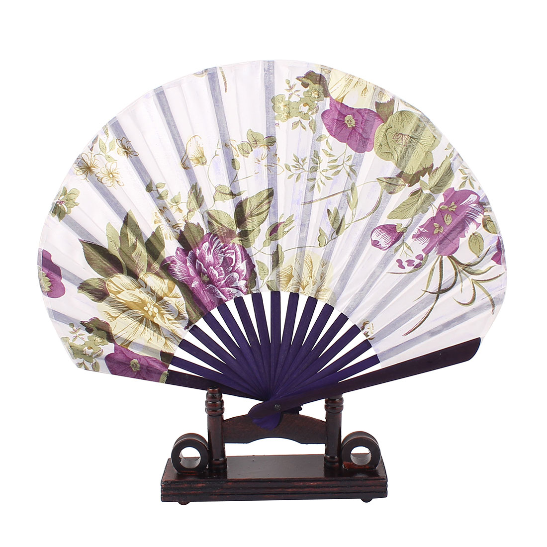 Chinese Ink Painting Floral Wood Folding Hand Fan Purple Green w Display Holder