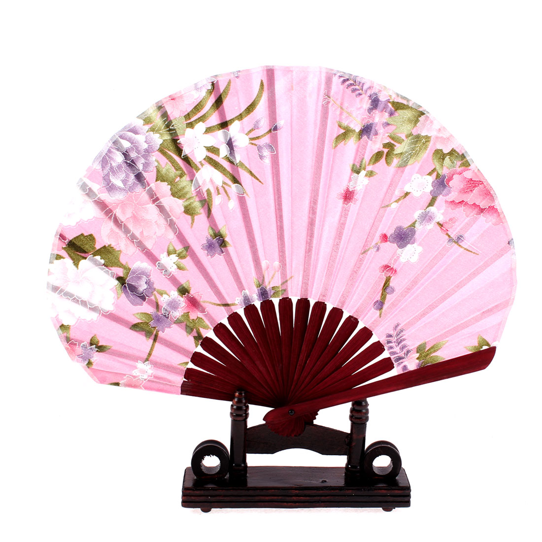 Chinese Bamboo Pink Floral Folding Hand Fan w Display Holder