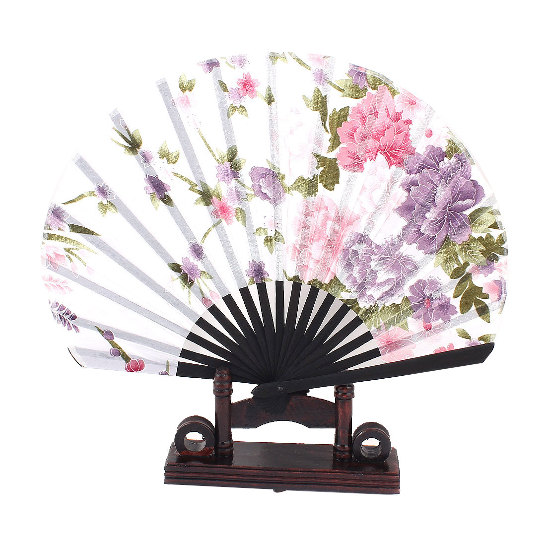 Black Bamboo Ribs Purple Peony Floral Pattern White Fabric Cloth Folding Hand Fan w Wooden Display Holder
