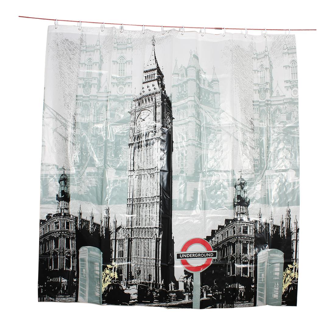 London Scene Big Ben Pattern Water Resistant Shower Curtain w Hooks 180x180cm