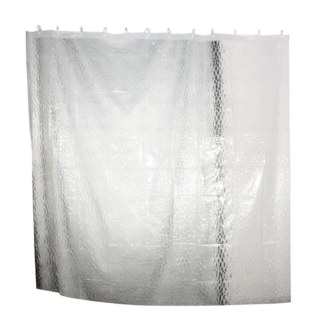 "The Water Cube Pattern Clear EVA Bath Shower Curtain w Hooks Rings 71"" x 71"""