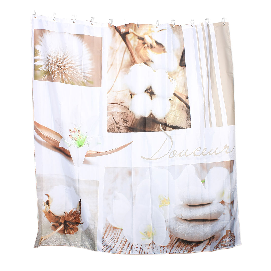 Cotton Flower Stone Print Bathroom Shower Curtain w Ring Hooks 180 x 180cm