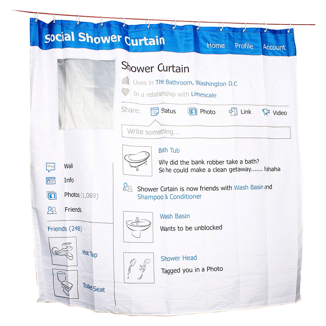 Social Network Site Pattern Bathroom Bathtub Shower Curtain w 12 Hooks 180x180cm