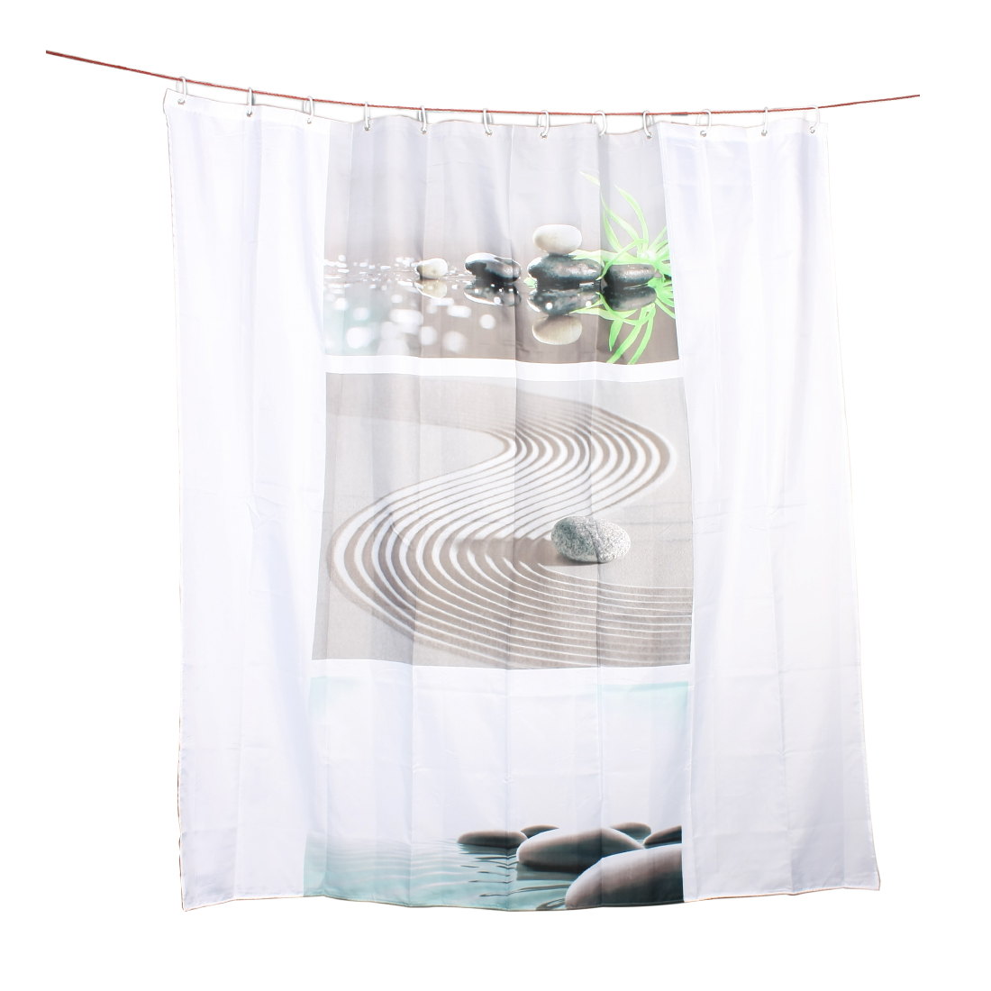 Sand Water Stones Pattern Bathroom Accessory Shower Curtain w 12 Hooks 180x180cm