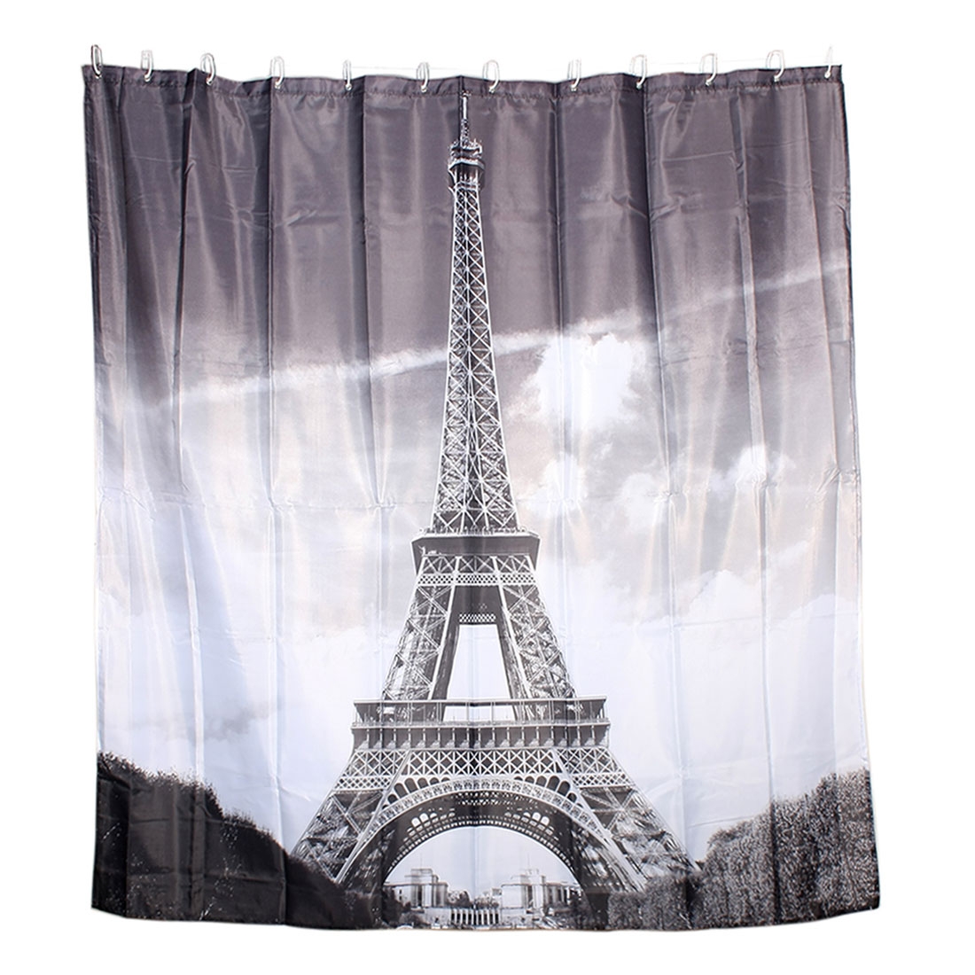 Eiffel Tower Print Home Decor Shower Curtain w 12 Hooks Rings 180 x 180cm