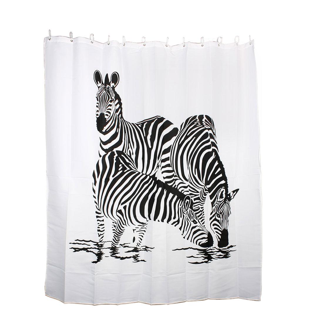 Zebra Drinking Print Bathroom Decor Shower Curtain w 12 Hooks Rings 180 x 180cm