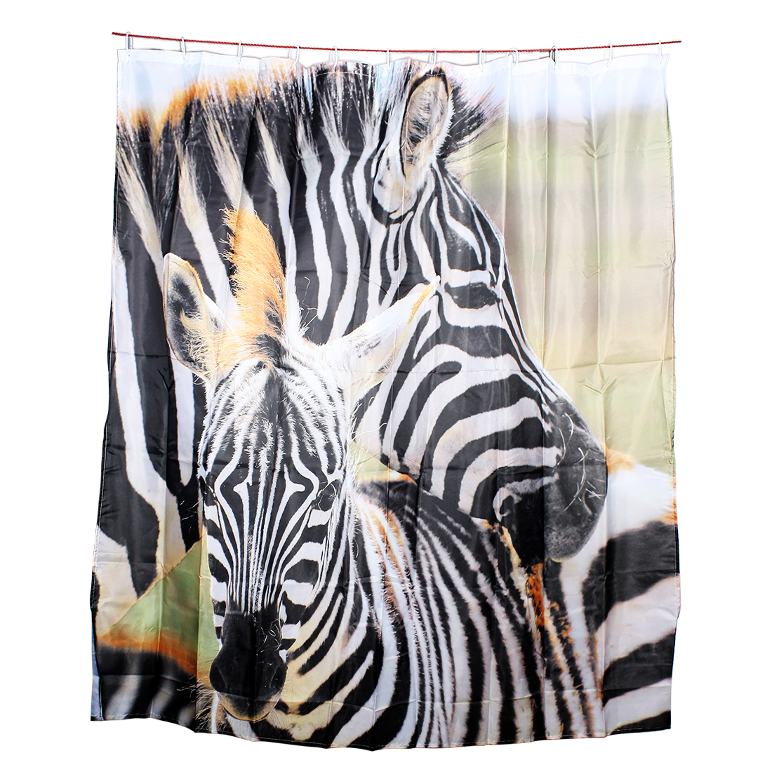 Black and White Zebra Pattern Bathroom Decor Shower Curtain w Hooks 180 x 180cm