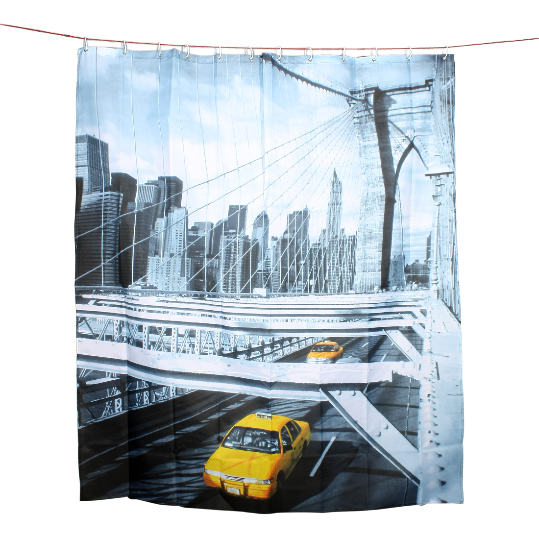 Yellow Taxi Print Bathroom Shower Curtain Hanging w 12 Hook Rings 180 x 200cm