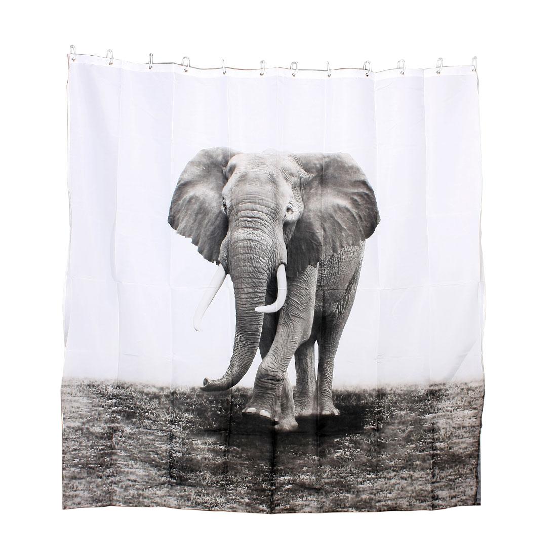 Elephant Pattern Essential Home Furnishing Shower Curtain w 12 Hooks 180 x 180cm