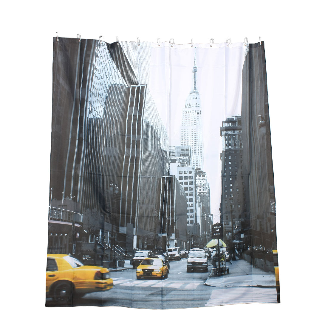 "Streets Crossroad Print Bathroom Hanging Shower Curtain w 12 White Hooks 71""x79"""