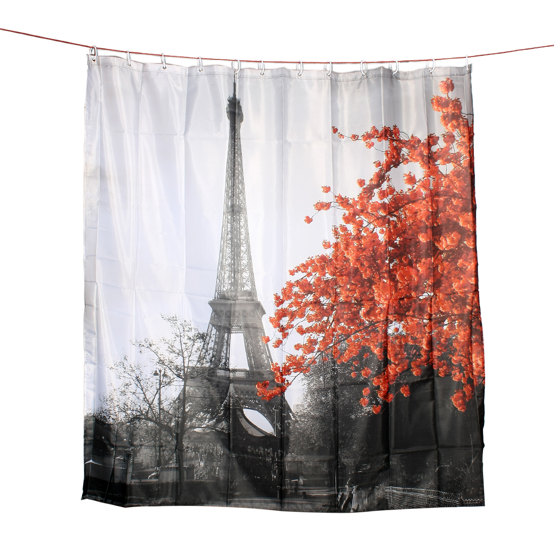 Red Leaves Eiffel Tower Print Shower Accessory Bath Curtain w Rings 180 x 180cm