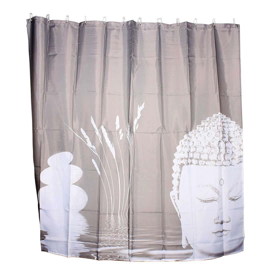 Bathroom Household Article Buddha Pattern Shower Curtain w 12 Hooks 180 x 180cm
