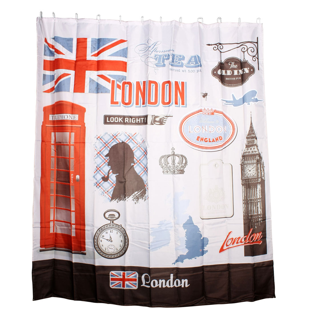 Shower Room Classical London Britain Pattern Bath Curtain Extra Long 180 x 200cm