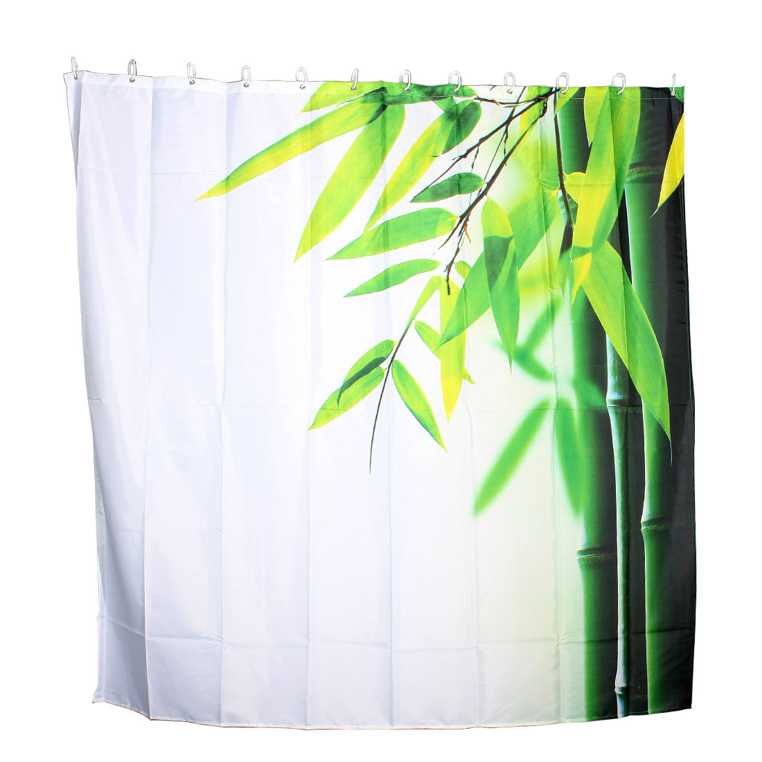 Bamboo Pattern Bathroom Ware Polyester Shower Curtain w 12 Ring Hooks 180x180cm