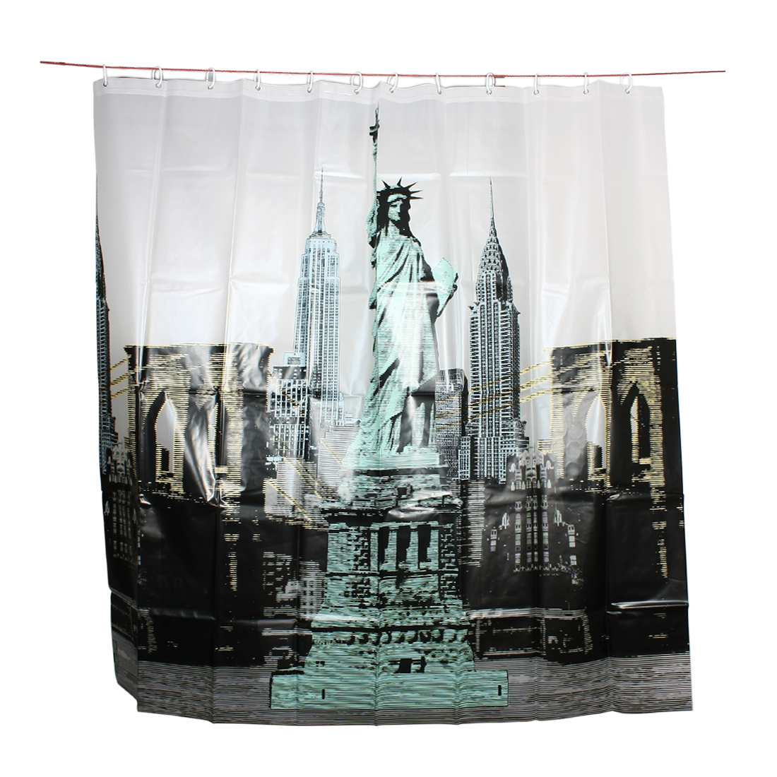 Modern Design Statue of Liberty Pattern Shower Curtain w 12 Hook Rings 180x180cm