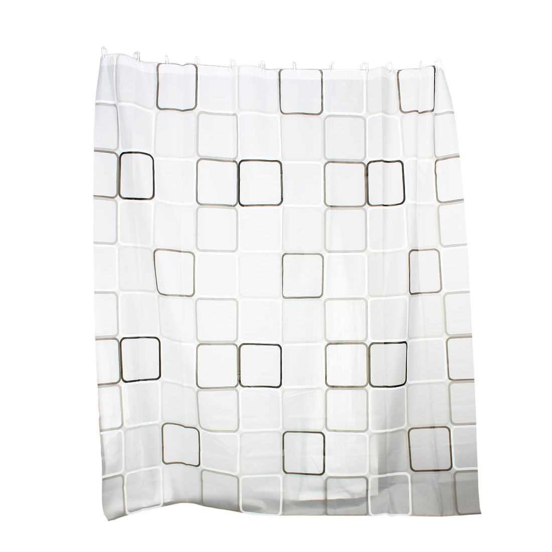 Classic Gray Black Grid Patten PEVA Shower Curtain w 12 Hook Rings 180x200cm