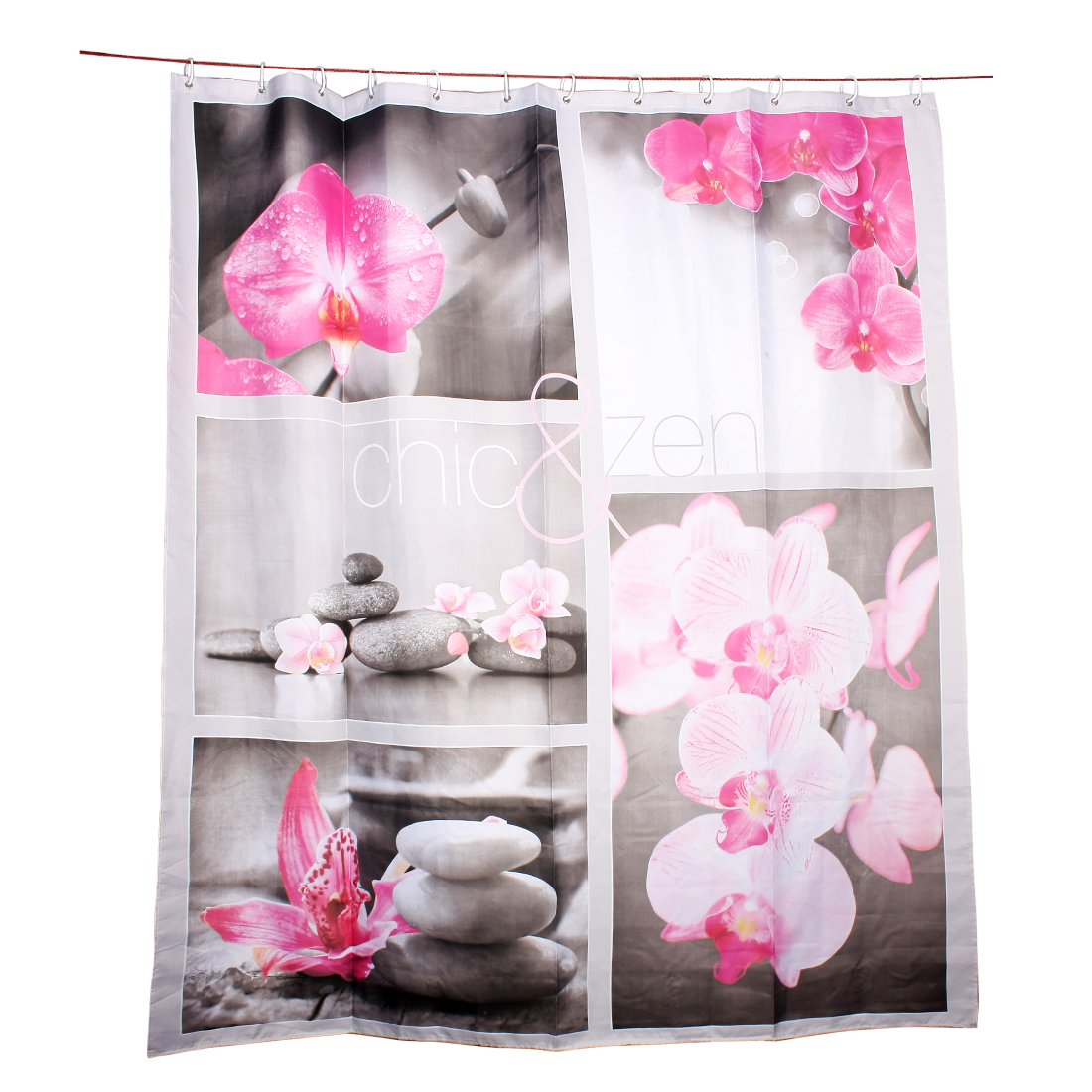 Printed polyester Flower stone combination shower curtain w 12 Hook Rings 180x200cm