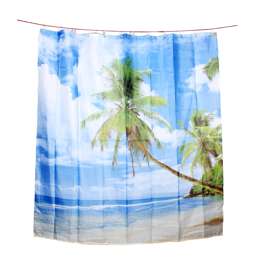 Printed Polyester Palm Beach Shower Curtain w 12 Hook Rings 180x180cm