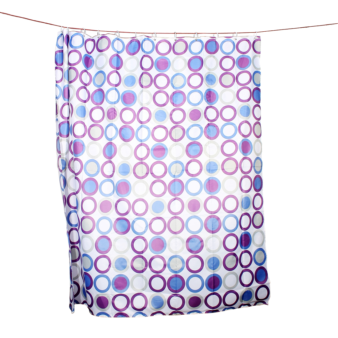 Colorful Ring Printed Polyester Shower Curtain w 12 Hook Rings 180x200cm