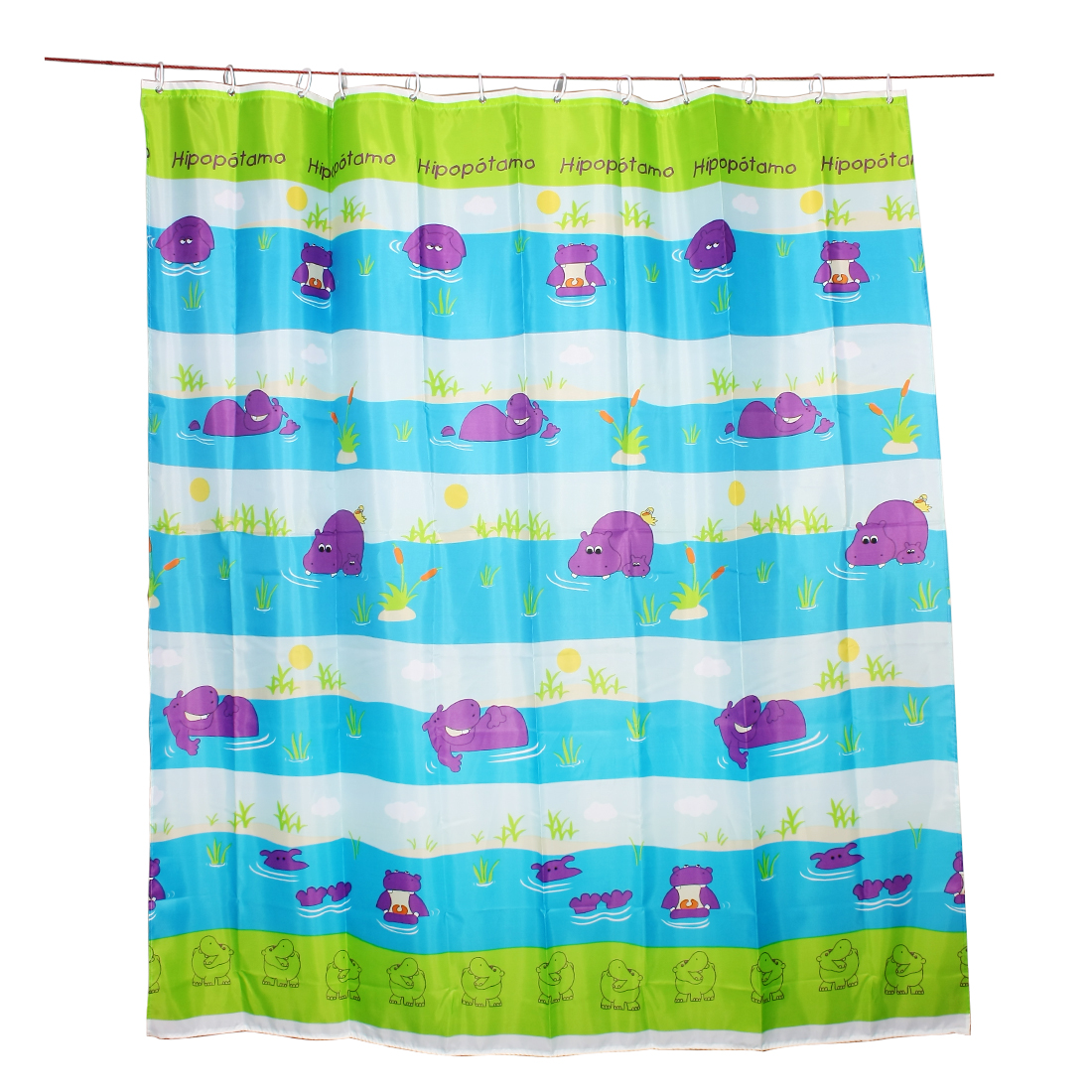 Polyester Hippo Print Water Resistant Shower Curtain w 12 Purple Hooks 180x200cm
