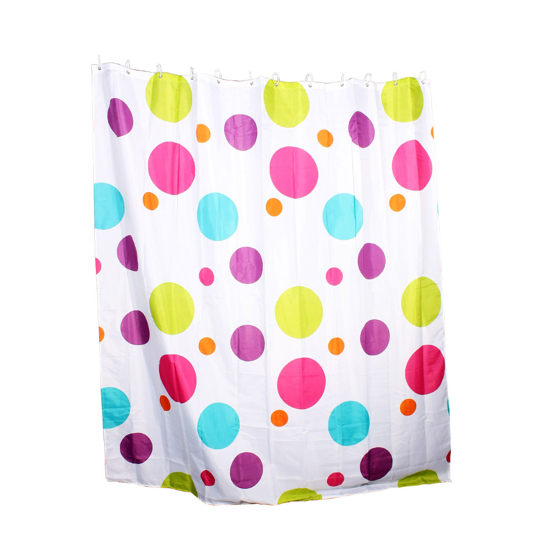 """Colorful Circle Round Print Polyester Shower Curtain w 12 Plastic Hooks 71""""x79"""""""