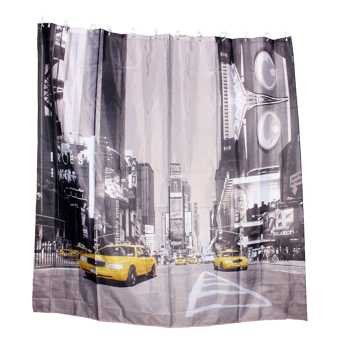 "New York Taxi Cab Pattern Bathroom Furnishing Shower Curtain w 12 Rings 71""x79"""