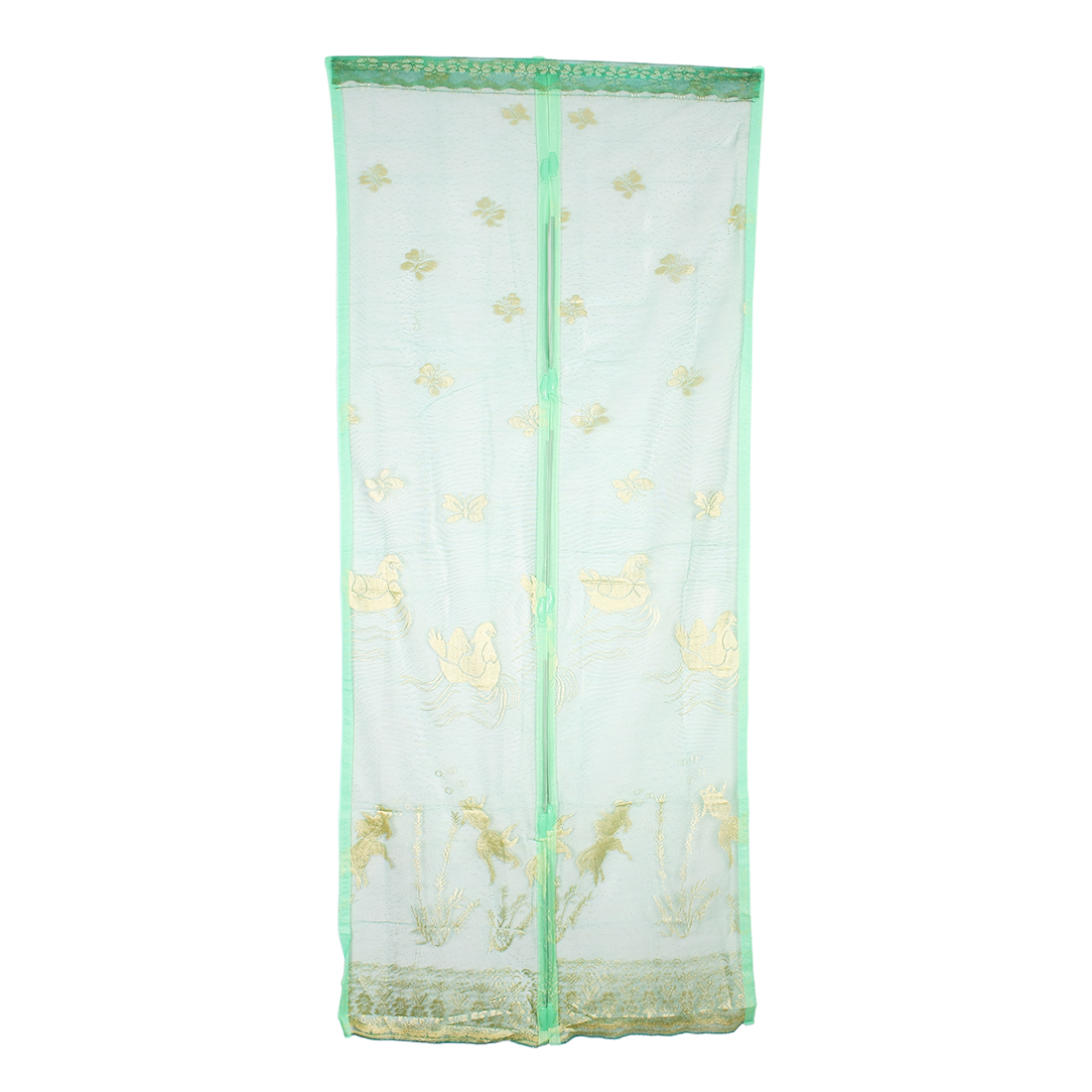 Flower Pattern Magic Curtain Soft Insect Screen Door Mesh Dark Green