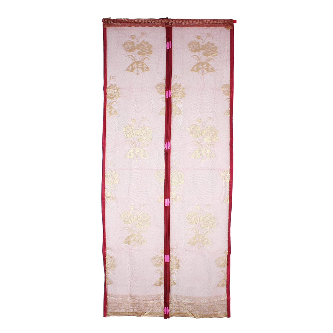 Flower Magnetic Fastening Curtain Soft Insect Screen Door Dark Red
