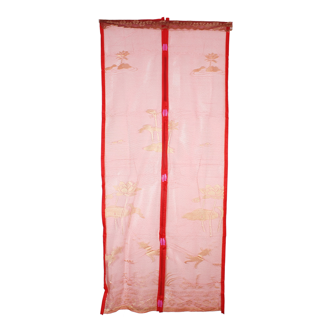 Flower Magnetic Fastening Magic Curtain Soft Mosquito Screen Door Mesh Red