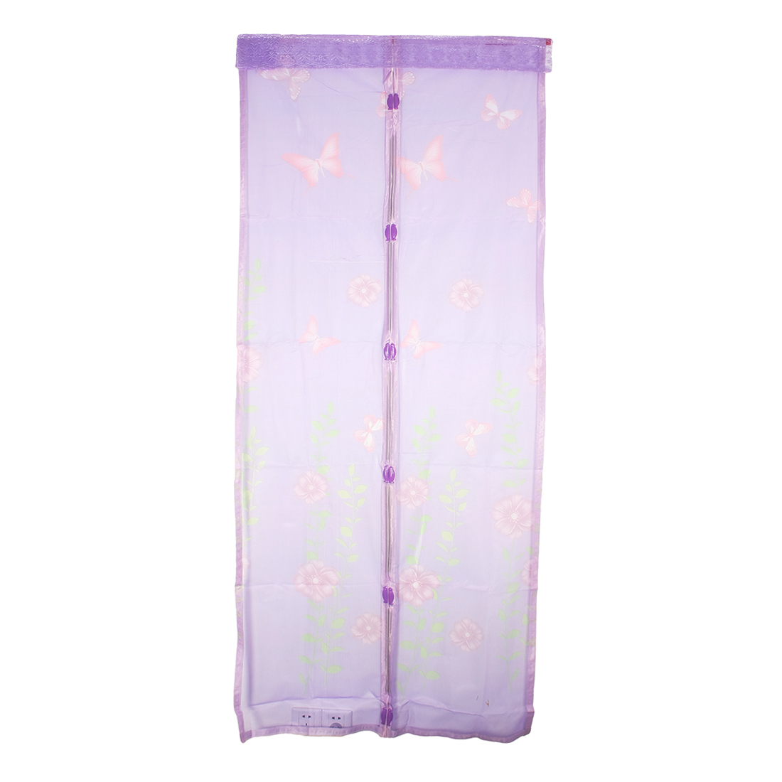 Flower Anti Mosquito Netting Mesh Magnetic Screen Door 90 x 210cm Bright Purple